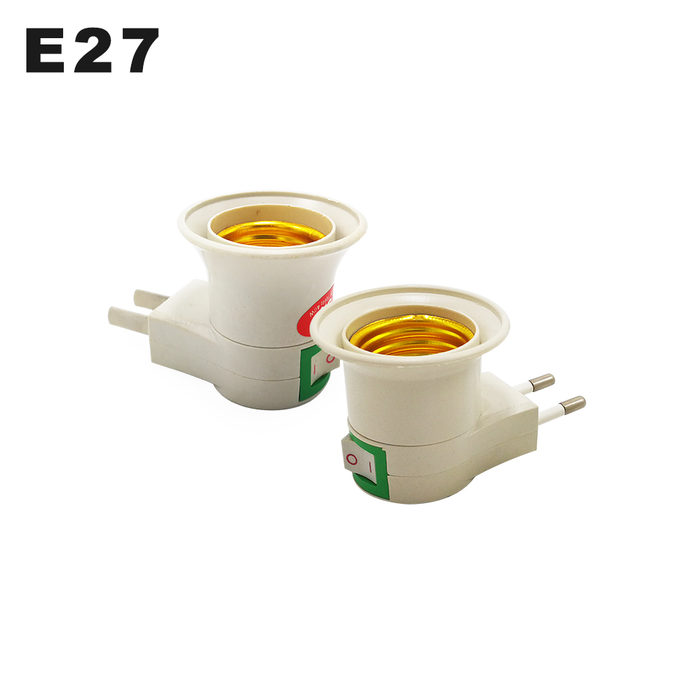 E27 Wall-mount  Lamp Holder Converter E27 Switch Lamp Base Round Foot Screw US EU Plug With ON/OFF Button LED Light Male Socket