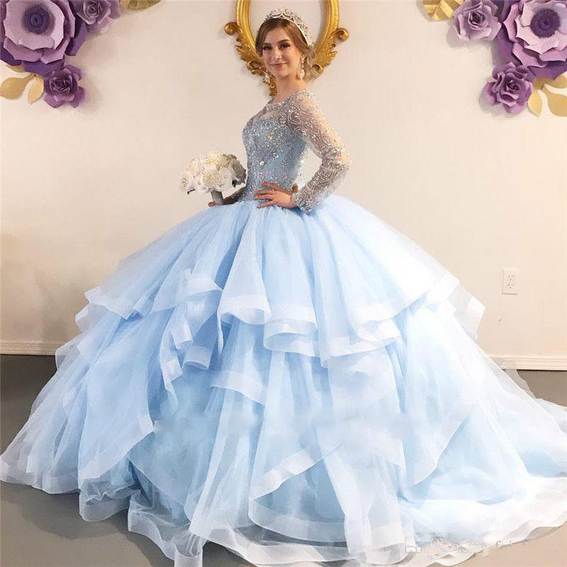 Major Beading Crystal Light Blue Quinceanera Dresses Ball Gown Plus Size Prom Dresses Sheer Long Sleeves Sweet 16 Evening Dress