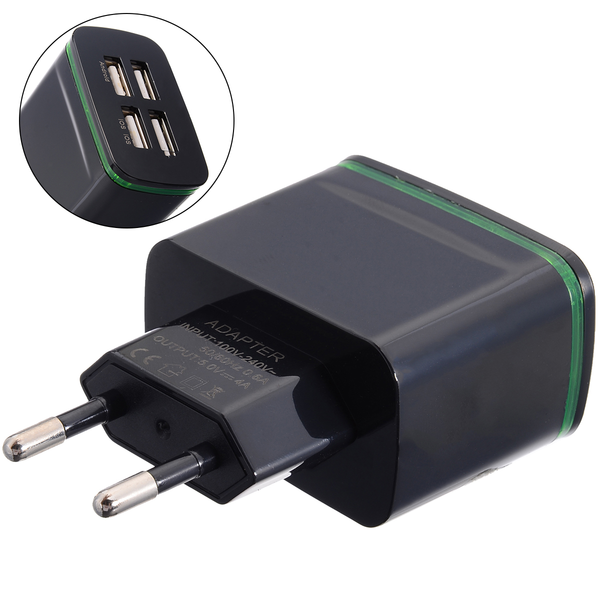 Protable Quick Charge USB Chargering Adapter 5V 4A Power Plug EU Travel Wall Phone Charger 4 Port Adapters