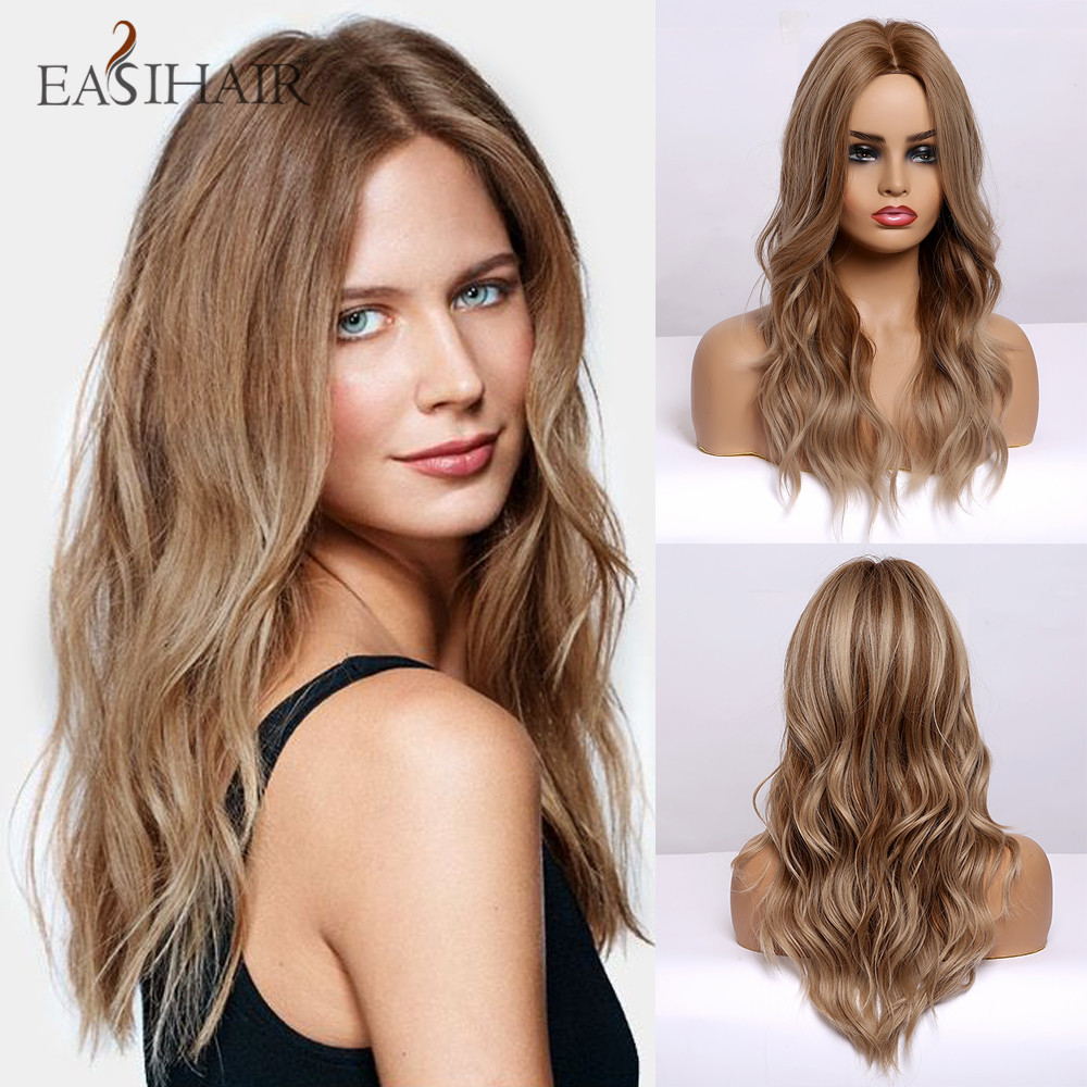 EASIHAIR Brown Wavy Synthetic Wigs For Women Medium Length Natural Hair Wigs With Hightligh Hairstyle Heat Resistant Cosplay Wig