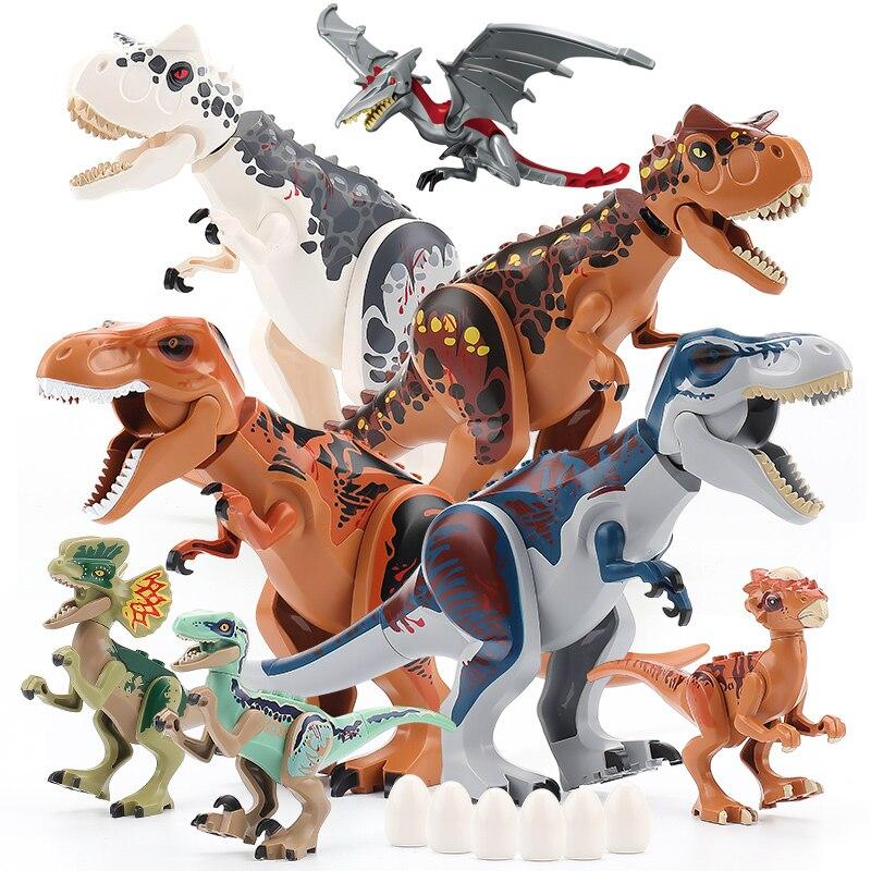 Конструктор Парк Юрского периода, динозавр, серия World, динозавр, Велоцираптор, T-Rex Triceratops, индоминус Рекс, большие кубики, игрушки для детей