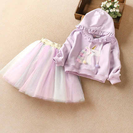 kids baby girls autumn long sleeve tops coat jacket print animals rainbow skirt toddler girls clothes sets 2pcs 2-7Y