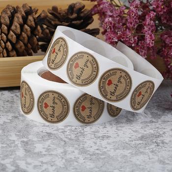 500 sztuk ręcznie robione z miłością naklejki Scrapbooking ręcznie robione ręcznie etykiety naklejki ślubne naklejki samoprzylepne Kraft okrągłe etykiety tanie i dobre opinie CN (pochodzenie) sticker
