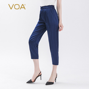 VOA Satin 19MM Blue Silk Lace Elastic Microprojectile Skin Pocket Seven Leisure Pencil Pants K16