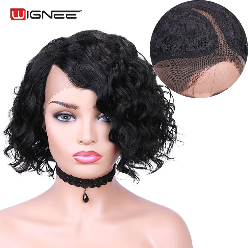 Wignee Body Wave Lace Wig Short Bob Curly Human Hair Pixie Cut Bob T Part Lace Wigs For Black Women 150% Density Brazilian Hair