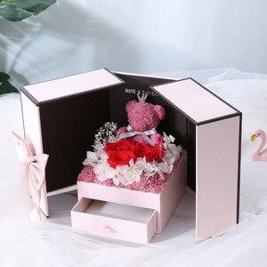 Image 4 - 2020 подарок на день Святого Валентина, мишка тедди, роза, двухдверная Подарочная коробка, женский день, годовщина, Рождество, подарок