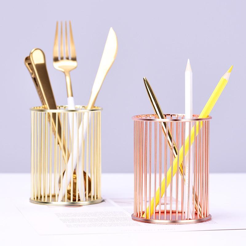 2 Colors Beauty Makeup Storage Box Cylindrical Case Storage Lipstick Brush Pen Holder Organizer Iron