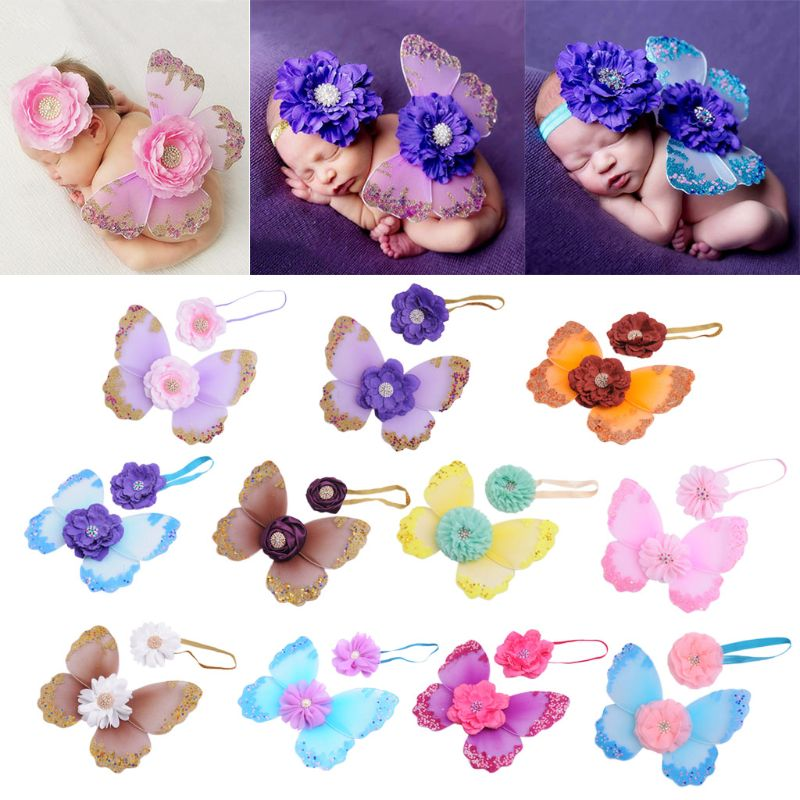 Newborn Photography Props Headband Butterfly Wings Baby Girls Boys Fairy Photo Costume Accessories Gifts