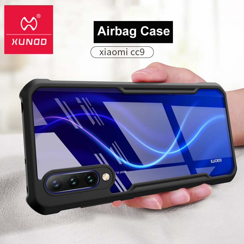 Novo xundd luxo caso claro caso caso caso caso para xiaomi cc9 com airbags anel à prova de choque capa traseira para xiaomi cc9e pára-choques beetle funda