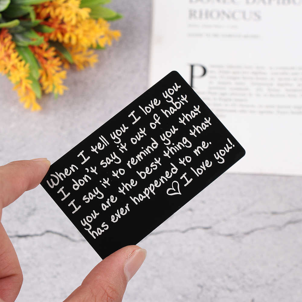 Mini Nota de amor novio regalos grabado cartera insertos grabado permanente aniversario regalos obsequios fiesta regalo para el hombre del marido