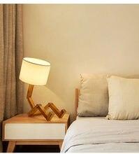 Lâmpada de mesa de madeira moderna da forma do robô da luz da noite do estudo da sala de estar da lâmpada de mesa de madeira moderna da arte de pano 110-240v