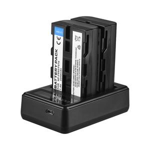 Image 4 - Andoer F550 カメラバッテリー充電器キット 2 * NP F550 バッテリー + LCD2 NPF550 デュアルチャンネルバッテリー充電器液晶ディスプレイビデオライト