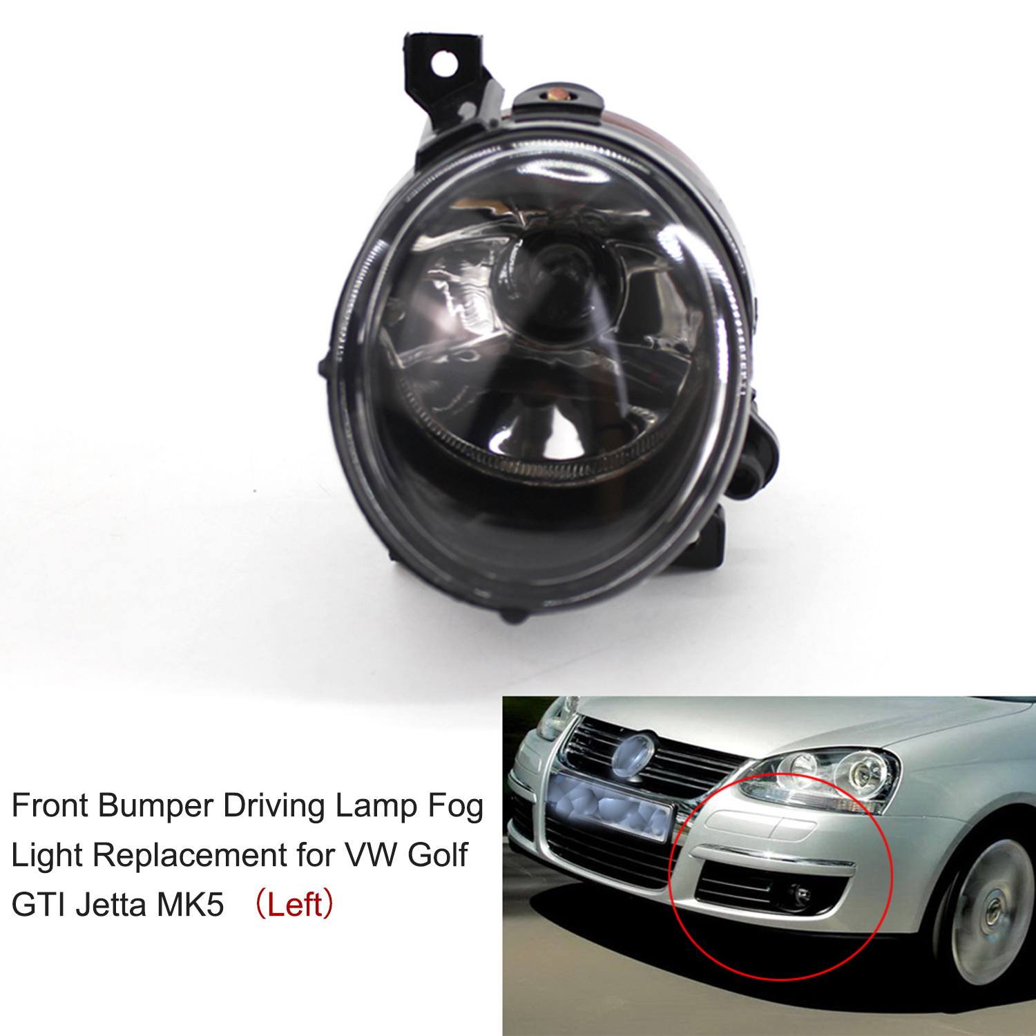 2pcs Round <font><b>Led</b></font> Fog <font><b>Lights</b></font> Front Bumper Headlight Driving Lamp Fog <font><b>Light</b></font> 1KD941699 Replacement for <font><b>VW</b></font> <font><b>Golf</b></font> Jetta <font><b>MK5</b></font> 2005-2009 image