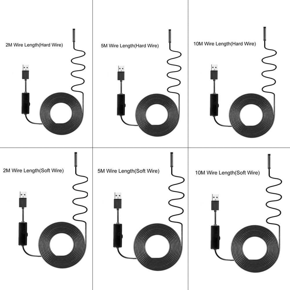 2/5/10m 1920*1080 HD Endoscope industriel Endoscope caméra d'inspection intégré 8 pièces led 8mm lentille IP67 étanche Endoscope USB