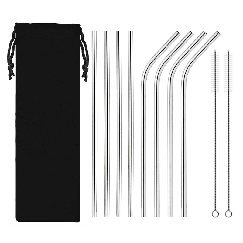 10PCS Drinking Straws Reusable Stainless Steel Drinking Straws With Cleaner Brush Tube Straws Wedding Party Drinking Accessories