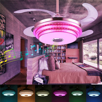 108 LED Ceiling Fans Light Trendy RGB bluetooth Music ceiling lights Wireless Fan Light With Remote Control AC110V/220V for Home