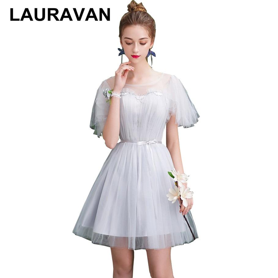 Light Grey Illusion Neckline Girl Elegant Bridesmaid Short Tulle Brides Made Dresses Women Bride Dress Ball Gown For Girls