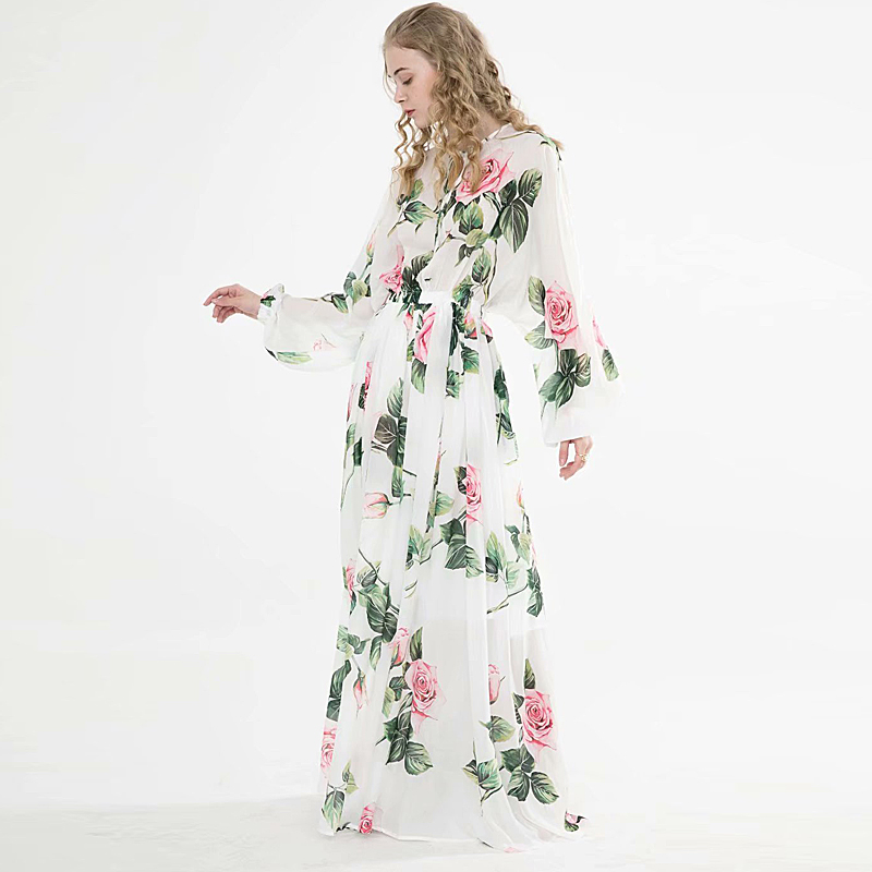 Long <font><b>Dress</b></font> Runway High Quality Spring 2020 New Women'S <font><b>Boho</b></font> <font><b>Beach</b></font> Fashion Party <font><b>Sexy</b></font> Vintage <font><b>Elegant</b></font> Chic Print Chiffon <font><b>Dresses</b></font> image