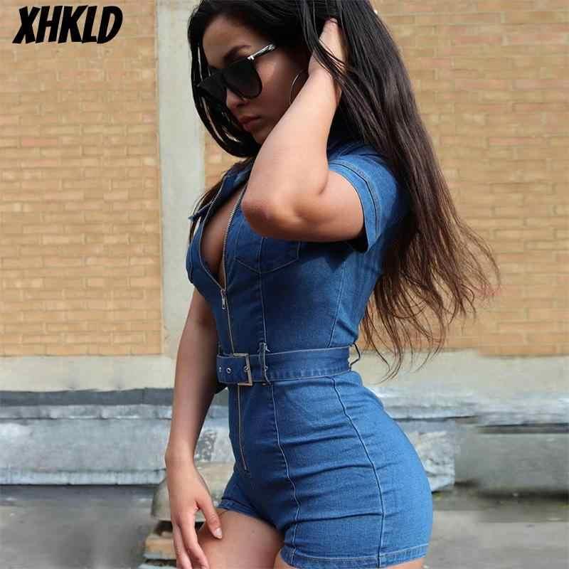 Xhkld mulheres zíper denim playsuits macacões shorts turn down collar outfits faixas bolso jeans macacão macacao