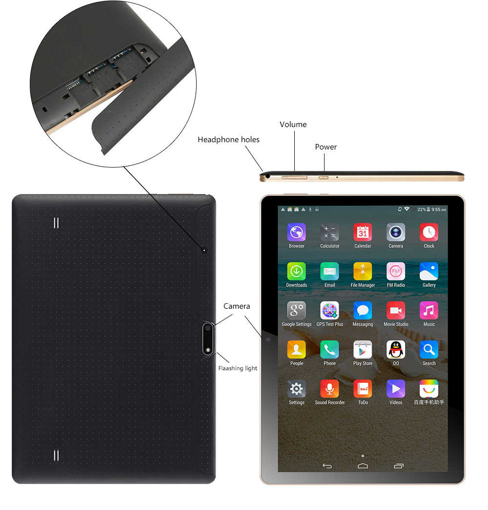 ANRY 102 Tablet Pc 10,1 pulgadas Android 7,0 Tablet Pc IPS pantalla Quad Core 4GB RAM 32GB ROM mini almohadilla soporte extender tarjeta TF 3G Tab