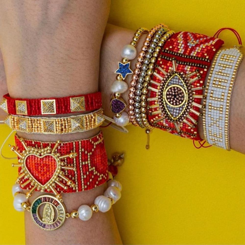 Go2boho Miyuki Heart Bracelet Friends Gift Turkish Evil Eye Bracelets For Women Jewelry Freshwater Pearl Jewellery Pulseras 2021