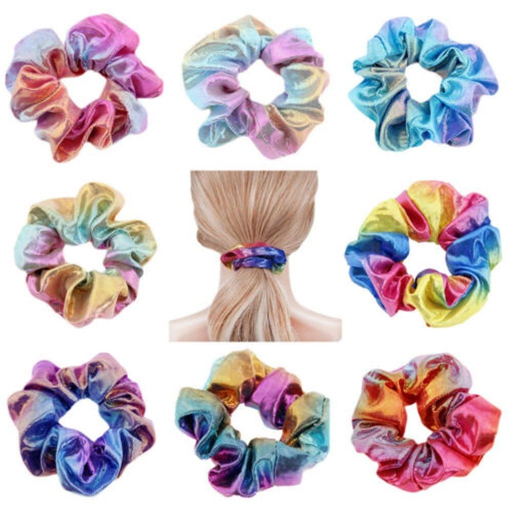 4-8pcs Shiny Metallic Hair Scrunchies Ponytail Holder Elastic Hairbands Girl HOT