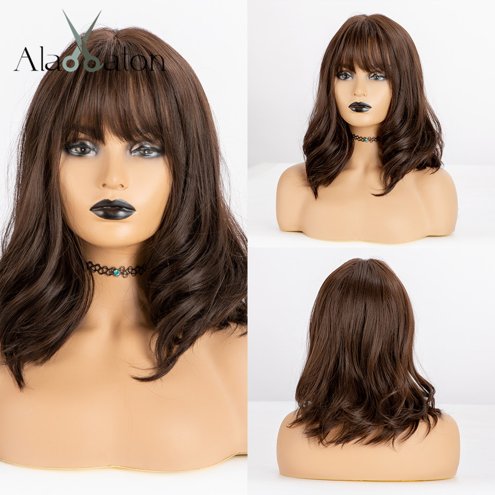 ALAN EATON Synthetic Hair Wigs With Bangs Black Brown Natural Wave Short Bob Wigs For Women Heat Resistant Fiber Lolita Cosplay