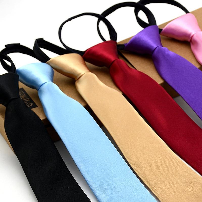 1 Piece Pre-tied Shiny Students Zipper Ties For Women Boys Girls Slim Narrow Men Necktie Solid Red Black Navy Blue 5cm Skinny