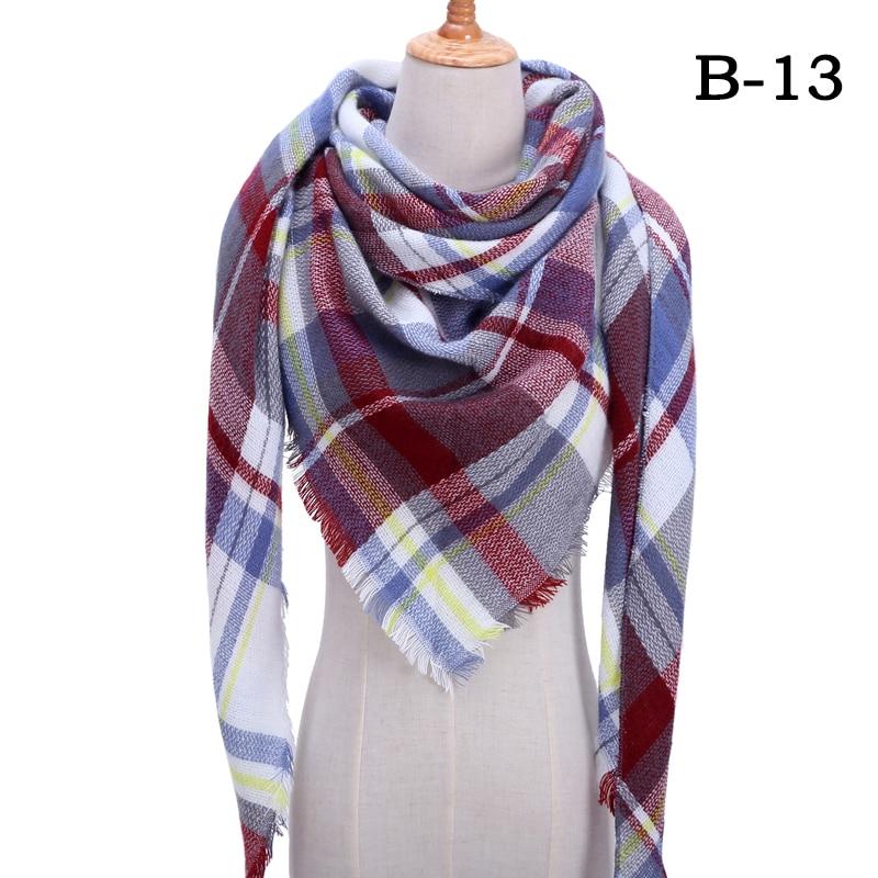 Женский зимний шарф в ретро стиле, кашемировые вязаные пашмины шали, женские мягкие треугольные шарфы, бандана, теплое одеяло, новинка - Цвет: bb13