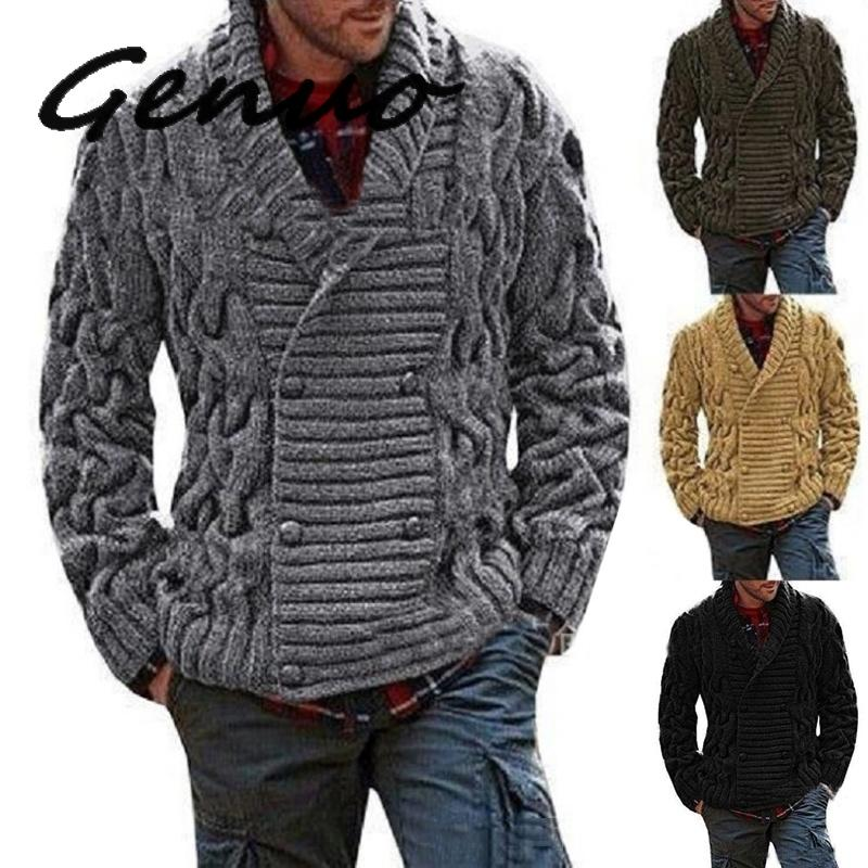 Genuo New 2019 Winter Men's Warm Sweaters Thicken Solid Twist Sweaters Casual Warm Knitting Double-breasted Jumper Male Sweaters