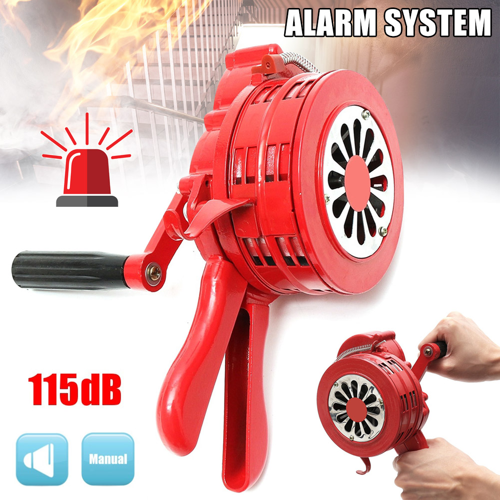 Hand Operated Crank Air Raid Safety Siren Fire Emergency Alarm Aluminum Alloy 231X202X115mm NC99