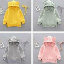 Зимняя толстовка с капюшоном и объемными ушками для маленьких мальчиков и девочек топы, Одежда для новорожденных малышей, худи для девочек, детские толстовки с капюшоном