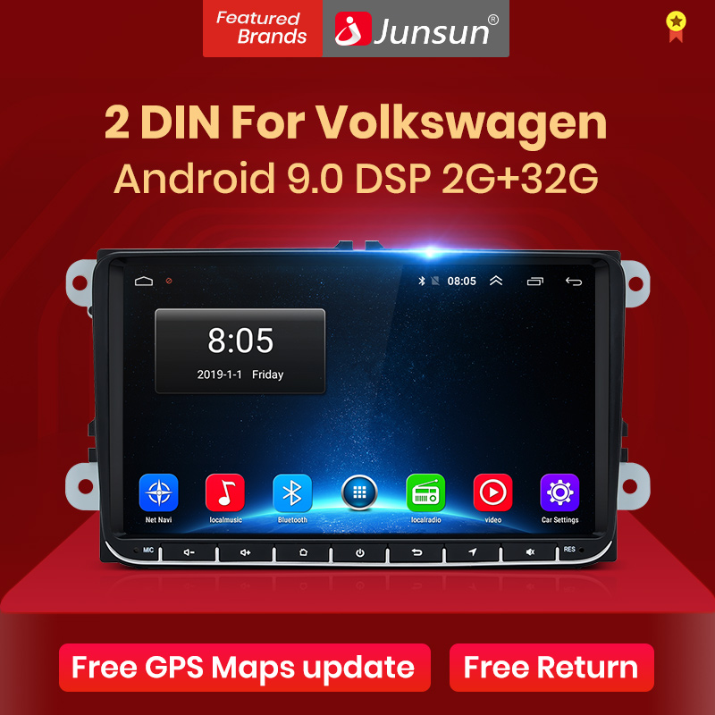 Junsun V1pro 2G + 32G DSP Android9.0 coche reproductor Multimedia Radio GPS para Volkswagen VW Passat B6 Touran GOLF5 POLO jetta 2 din DVD