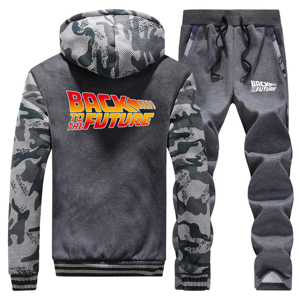 Back To The Future Male Two Piece Suit Autumn Winter Hot Selling Mens Hipster Zip Hoodies Sports Pants High Quality Men Jackets