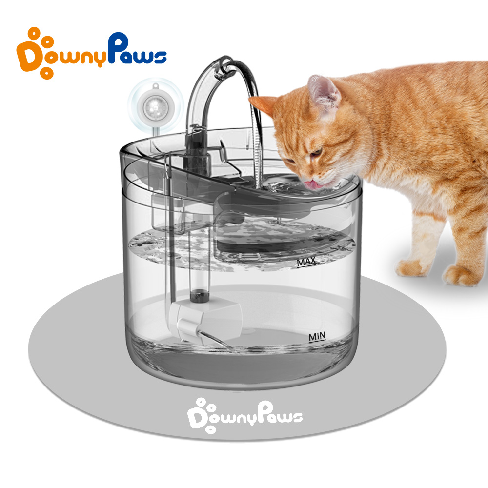 DownyPaws 2L Automatic Cat Water Fountain With Faucet Dog Water Dispenser Transparent Filter Drinker Pet Sensor Drinking Feeder