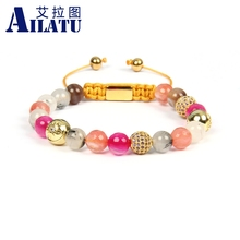 Ailatu New Bracelets for Women Mix Natural Stones Braiding Bracelet Cz Jewelry Stainless Steel Logo Beads Top Quality