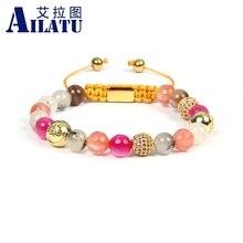 Ailatu novos braceletes para mulheres mix pedras naturais trança pulseira cz jóias de aço inoxidável logotipo contas qualidade superior