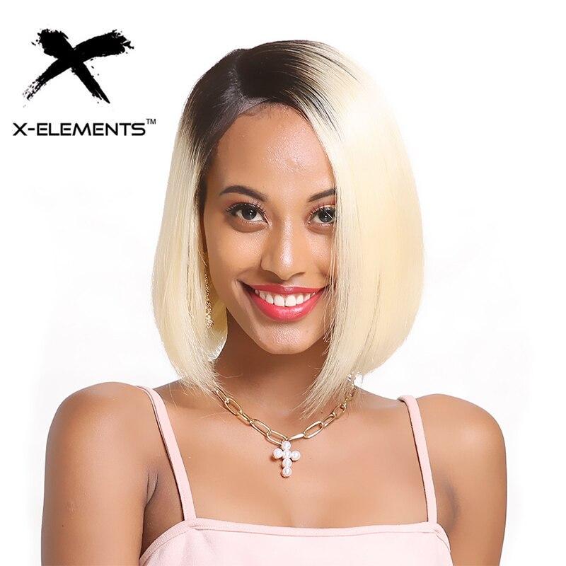 Бразильские прямые короткие парики боб для черных женщин 100% человеческие волосы парики глубокая часть кружева парик T1B/613 блонд цвет волосы remy парик
