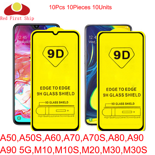 10Pcs 9D Tempered Glass For Samsung Galaxy A50 A50S A60 A70 A70S A80 A90 5G screen Protector M10 M10S M20 M30 cover film Movie