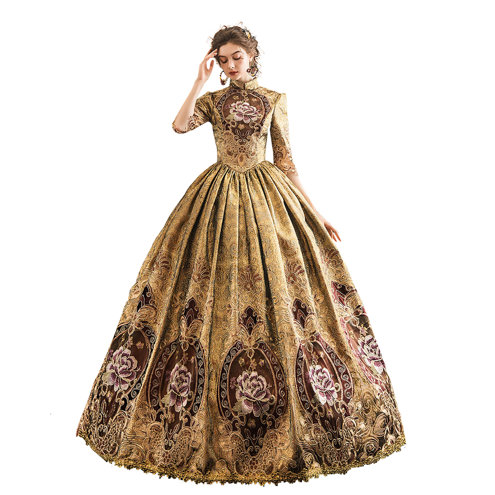 Rococo Baroque Marie Antoinette Ball Dresses 18th Century Renaissance Historical Period Victorian Golden Dress Gown for Women