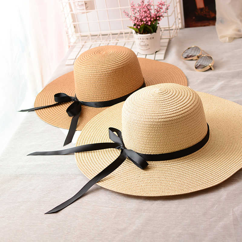 女性つばの帽子夏わら帽子ビーチ太陽ワイドつばファッションカジュアル女性太陽帽子折りたたみ太陽ブロック UV 保護パナマハット