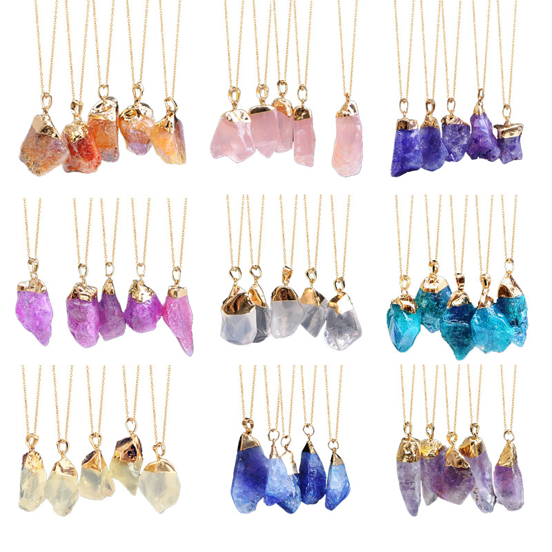 2020 Ran Stone Crystal Pendant Necklace title=