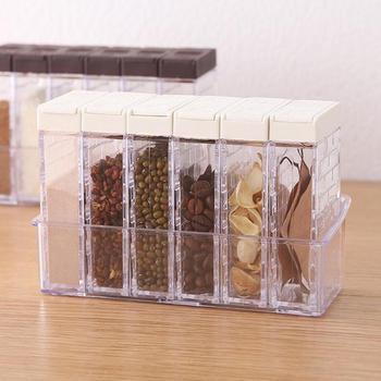 6 uds. Nuevo tarro de especias de cocina caja de condimento botella de almacenamiento de especias de cocina tarros transparentes sal y pimienta comino polvo especias herramientas