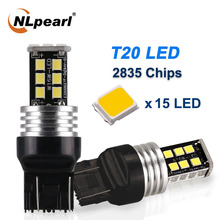 NLpearl 2x Signal Lamp T20 7440 W21W WY21W LED Canbus Parking Light 2835 15SMD Amber Red White 7443 W21 5W Reverse Brake Light nlpearl 2x signal lamp t20 w21w led w21 5w led wy21w 7440 7443 led bulb 3030 smd turn signal light brake reverse light red white