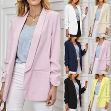 Womens Casual Blazer Ruched Long Sleeve Open Front Fit Office Cardigan Coat frilled bell sleeve and hem open front blazer