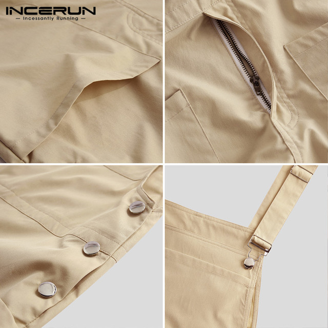 INCERUN Fashion Men Bib Pants Solid Color Jumpsuits Joggers Streetwear Casual Multi Pockets Suspenders Cargo Overalls Men Romper 6