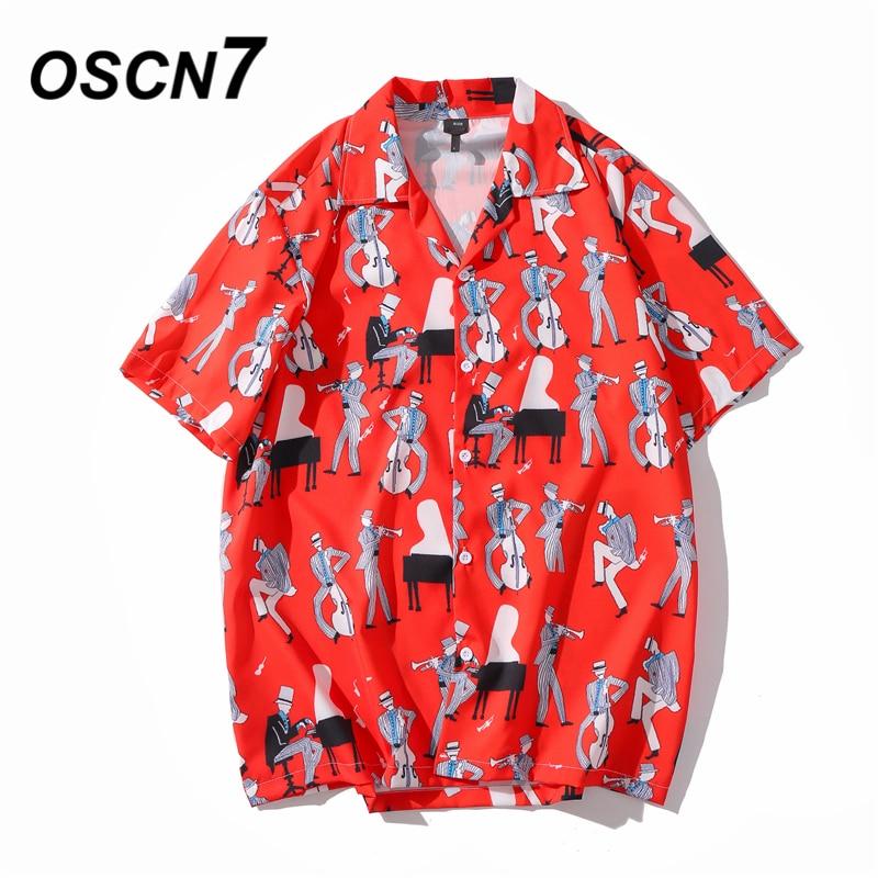 OSCN7 Casual Printed Short Sleeve Shirt Men Street 2020 Hawaii Beach Oversize Women Fashion Harujuku Shirts For Men XQ78