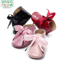 Drop Shipping Baby Girls PU Leather Shoes Non-slip Lace-up S