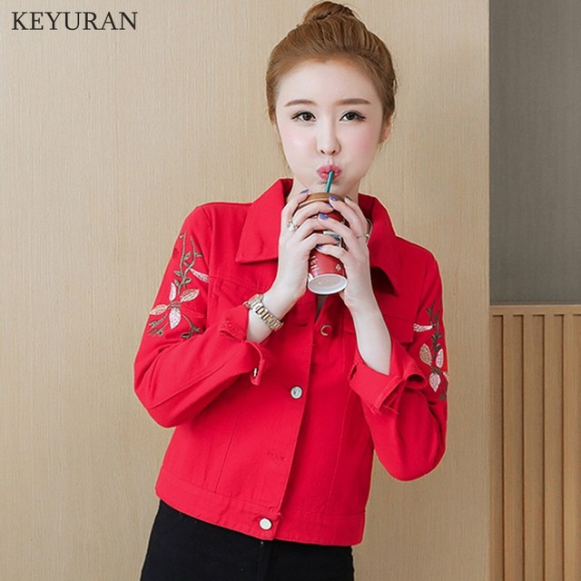 Korean Slim White Red Denim Jacket Women Embroidered Long Sleeve Coat Female Spring Cropped Jean Jackets Plus Size Manteau Femme 5