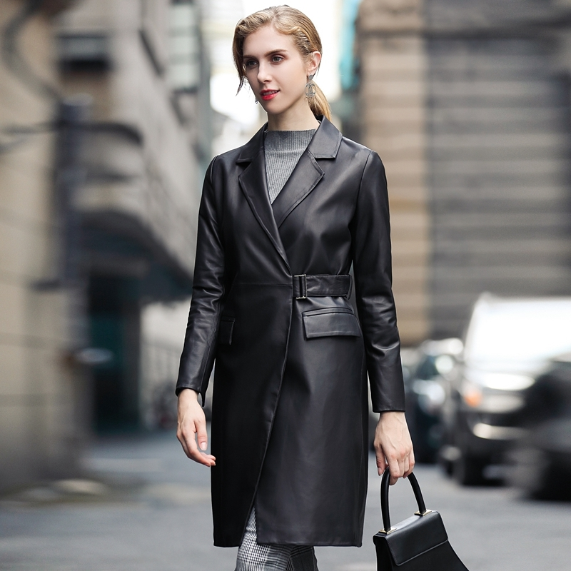 Sheepskin Real 100% Coat Female Long Trench Coat Autumn Jacket Women Korean Genuine Leather Jacket Chaqueta Mujer MY3946